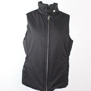 Banana Republic black puffer vest fleece collar
